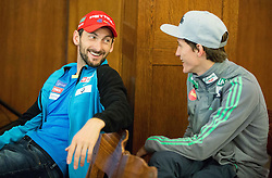 Jakov Fak and Peter Prevc during official presentation of the outfits of the Slovenian Ski Teams before new season 2015/16, on October 6, 2015 in Kulinarika Jezersek, Sora, Slovenia. Photo by Vid Ponikvar / Sportida