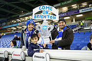 Brighton fans with replica FA Cup during the The FA Cup 3rd round match between Brighton and Hove Albion and Crystal Palace at the American Express Community Stadium, Brighton and Hove, England on 8 January 2018. Photo by Phil Duncan.