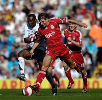 Photo: Jed Wee.<br />Liverpool v Tottenham Hotspur. The Barclays Premiership. 23/09/2006.<br /><br />Liverpool's Steven Gerrard (R) takes on Tottenham's Didier Zokora.