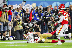 February 2, 2020, Miami Gardens, FL, USA: San Francisco 49ers tight end George Kittle (85) catches a pass against the Kansas City Chiefs during the first half of Super Bowl LIV at Hard Rock Stadium in Miami Gardens, Fla., on Sunday, Feb. 2, 2020. The Chiefs won, 31-20. (Credit Image: © TNS via ZUMA Wire)