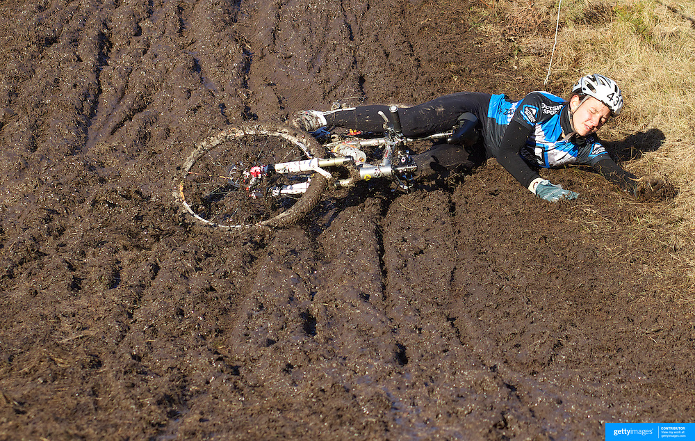 Camelia Nicolau from Queenstown, who finished third in the Women's competition, falling during the thrills and spills of the New Zealand Cyclocross Championships sponsored by AJ Hackett Bungy, held at Jardine Park,  Queenstown, as part of the Queenstown WInter Festival. The men's event was won by Dan Warren from Hastings while Anja McDonald from Dunedin won the women's event. Queenstown, New Zealand, 2nd July 2011
