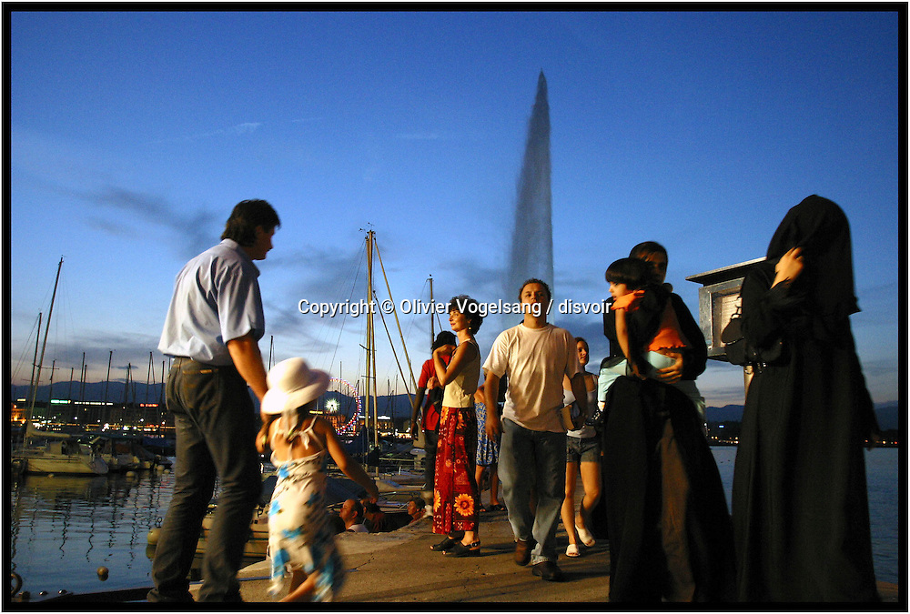 Switzerland. Geneva. Les Fêtes de Genève take place every year in summer. To the program, carnivals and  fireworks. Many arabs from the Gulf come at this period to enjoy and spend money during Geneva Festival.