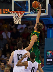 Tiago Splitter of Brasil during the Preliminary Round - Group B basketball match between National teams of USA and Brasil at 2010 FIBA World Championships on August 30, 2010 at Abdi Ipekci Arena in Istanbul, Turkey. (Photo By Vid Ponikvar / Sportida.com)