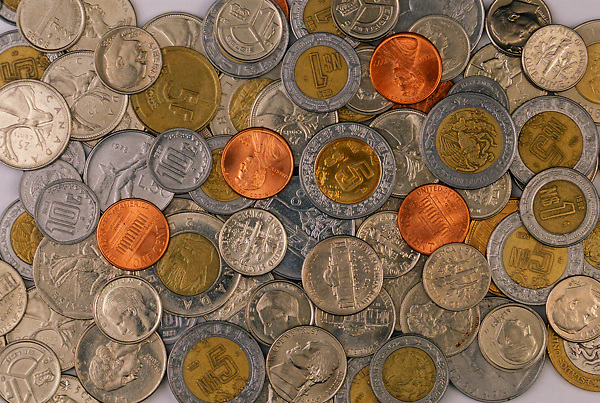 Stock photo of various American and foreign coins