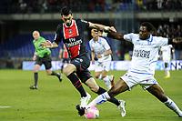 FOOTBALL - FRENCH CHAMPIONSHIP 2011/2012 - L1 - AJ AUXERRE v PARIS SAINT GERMAIN  - 15/04/2012 - PHOTO JEAN MARIE HERVIO / REGAMEDIA / DPPI - JAVIER PASTORE (PSG) / GEORGES MANDJECK (AJA)