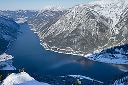 Scenic view of snow capped mountain and lake