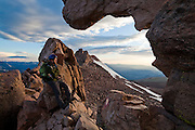 James Meldrum looks out over the Boulder Field from the Keyhole on Longs Peak, Rocky Mountain National Park, Colorado.