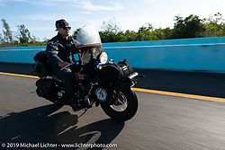 Jeff Milburn riding his Class II 1937 Harley-Davidson WL 750cc Flathead in the Cross Country Chase motorcycle endurance run from Sault Sainte Marie, MI to Key West, FL. (for vintage bikes from 1930-1948). Stage-10 covered 110 miles from Miami to the finish in Key West, FL USA. Sunday, September 15, 2019. Photography ©2019 Michael Lichter.