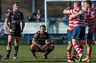 Scott Moore (Bradford Bulls) reacts to the final whistle going and Bradford Bulls having been beaten with a try in the last moments of the the Kingstone Press Championship match between Oldham Roughyeds and Bradford Bulls at Bower Fold, Oldham, United Kingdom on 2 April 2017. Photo by Mark P Doherty.