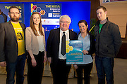 27/01/2014  REPRO FREE. Winners of the newly introduced Student Enterprise Award  at the annual SCCUL Enterprise Awards prize giving ceremony and business expo which was hosted by NUI Galway in the Bailey Allen Hall, NUIG were four Co. Galway students who have developed a mobile phone app with the potential to save lives. <br /> By monitoring movement while driving, Road Buddy detects any sudden impact and the app will automatically send an SMS to the emergency services with the GPS co-ordinates of the phone for accurate location. The app is the brainchild of Alan O' Connor,   Aisling Kenny, Paula Kelly and Gerard Nee with Lecturer Ivan McPhilips(centre) GMIT and  SCCUL.<br /> The students who are final year students in GMIT, plan to use their €1250 prize fund to develop an iphone version of the app in addition to the android and windows already developed.<br /> Photo:Andrew Downes