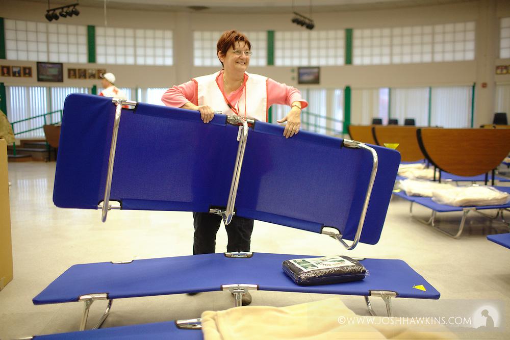 Red Cross shelter in Mesquite, NV at Virgin Valley High School.