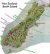 Favorite parks, tracks (trails), and sights are labelled on this small relief map of South Island, New Zealand. In 1990, UNESCO honored Te Wahipounamu – South West New Zealand as a World Heritage Area.