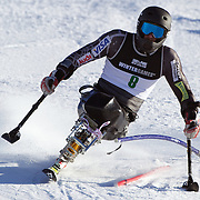 Heath Calhoun, USA, in action during the Men's Slalom Sitting, Adaptive Slalom competition at Coronet Peak, New Zealand during the Winter Games. Queenstown, New Zealand, 25th August 2011. Photo Tim Clayton