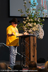 Arlen's good friend Kurt Rumens spoke before the large crowd at the Arlen Ness Memorial - Celebration of Life at the CrossWinds Church, Livermore, CA, USA. Saturday, April 27, 2019. Photography ©2019 Michael Lichter.