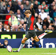 Toby Flood of England kicks a penalty during the Investec series international between England and Australia at Twickenham, London, on Saturday 13th November 2010. (Photo by Andrew Tobin/SLIK images)