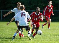 St Paul's boys varsity soccer versus Exeter.  ©2016 Karen Bobotas Photographer