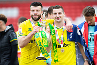 Football - 2020 / 2021 Sky Bet Championship - Barnsley vs Norwich City - Oakwell<br /> <br /> Grant Hanley of Norwich City and Kenny McLean of Norwich City with the trophy<br /> <br /> Credit :COLORSPORT/BRUCE WHITE
