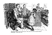 """School Medical Officer (examining child's eyes). """"Now, little girl, can you se my finger?"""" Child (coyly). """"I shan't tell you."""""""