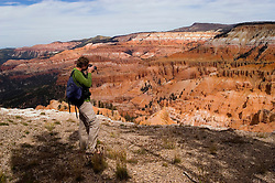 Man making a photo at Cedar Breaks National Monument, Utah, UT, view, vista from Point Supreme, nature, landscape, erosion, model released, Image ut303-17447, Photo copyright: Lee Foster, www.fostertravel.com, lee@fostertravel.com, 510-549-2202