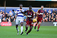 Queens Park Rangers forward Idrissa Sylla (40) battles for possesion with Ipswich Town defender Josh Emmanuel (29) during the EFL Sky Bet Championship match between Queens Park Rangers and Ipswich Town at the Loftus Road Stadium, London, England on 2 January 2017. Photo by Matthew Redman.