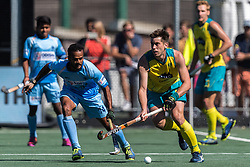 (L-R) Lalit Upadhyay of India, Eddie Ockenden of Australia during the Champions Trophy finale between the Australia and India on the fields of BH&BC Breda on Juli 1, 2018 in Breda, the Netherlands.