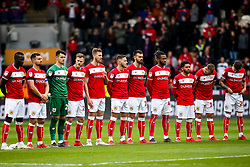 Bristol City line up for a minutes applause to honour former Hull City player Peter Skipper who recently passed away - Mandatory by-line: Robbie Stephenson/JMP - 05/05/2019 - FOOTBALL - KCOM Stadium - Hull, England - Hull City v Bristol City - Sky Bet Championship
