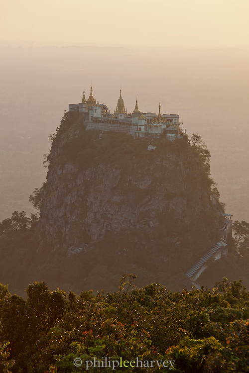 Taung Kalat Buddhist monastery perched atop a volcanic plug by Mount Popa near the ancient city of Bagan, Myanmar