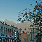 """Cathedral in Plaza de Armas in lovely Arequipa, Peru, the """"White City"""". Peru."""