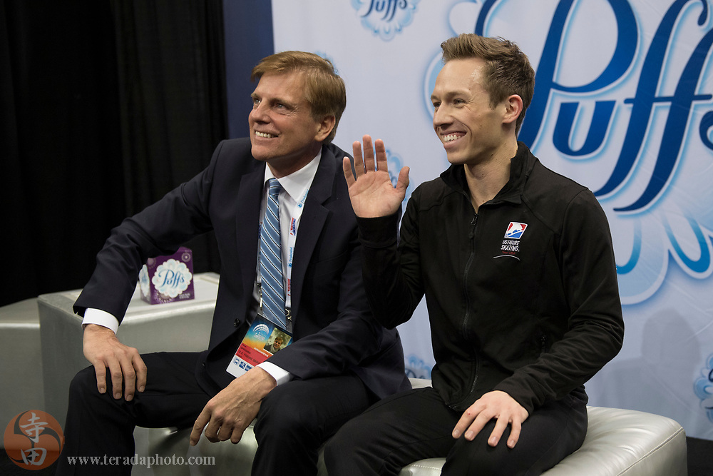 January 4, 2018; San Jose, CA, USA; Grant Hochstein (right) and coach Peter Oppegard (left) sit in the kiss and cry after skating in the mens short program during the 2018 U.S. Figure Skating Championships at SAP Center.
