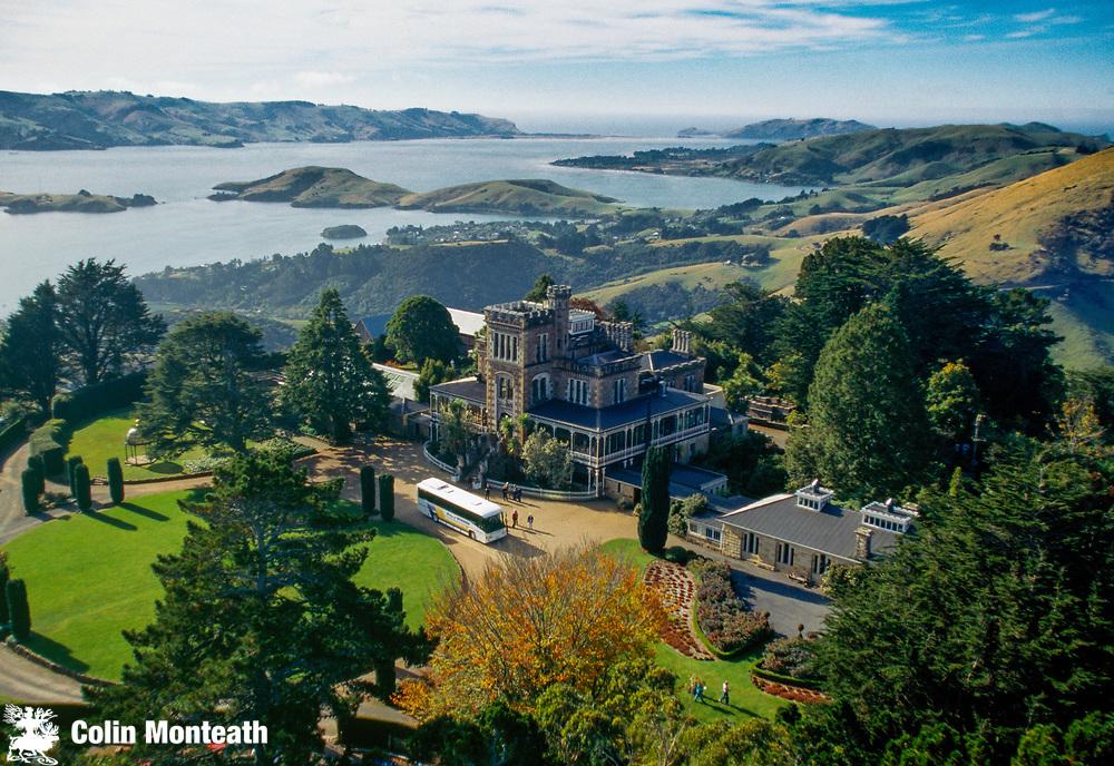 Larnach's Castle, aerial view, Otago Peninsula, near Dunedin, Otago, New Zealand