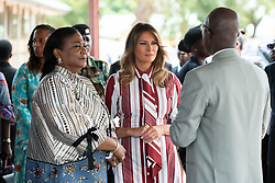 October 2, 2018 - Accra, Ghana, West Africa - First Lady Melania Trump arrives at the Greater Accra Regional Hospital in Accra, Ghana and is greeted by Rebecca Akufo-Addo, the First Lady of the Republic of Ghana, and Dr. Emmanuel K. Srofenyoh, Greater Accra Regional Hospital Medical Director. (Credit Image: ? Andrea Hanks/White House via ZUMA Wire/ZUMAPRESS.com)