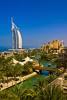View from the Al Qasr Hotel, part of the Madinat Jumeirah resort complex, to the Burj al Arab Hotel, Dubai, United Arab Emirates
