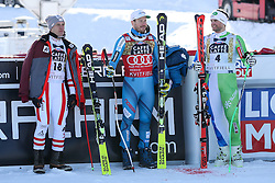 24.02.2017, Kvitfjell, NOR, FIS Weltcup Ski Alpin, Kvitfjell, Abfahrt, Herren, im bild Second placed Matthias Mayer of Austria, Winner Boštjan Kline of Slovenia and third placed Kjetil Jansrud of Norway at trophy ceremony after the men's downhill of FIS Ski Alpine World Cup at the Kvitfjell, Norway on 2017/02/24. PhotoCredit: Jonnas Ericcsson / Sportida