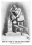 """Design For A Statue Of """"John Bull's Other Playwright."""" After Certain Hints By """"G.B.S."""" (an Edwardian era cartoon shows an oversized George Bernard Shaw leaning on a smaller William Shakespeare while both point to a plinth for a statue to Man and Super-Man)"""
