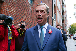 © Licensed to London News Pictures. 01/11/2019. London, UK. Brexit Party leader NIGEL FARAGE arrives at The Emmanuel Centre, Westminster. The Brexit Party are launching their election campaign today. Photo credit: Dinendra Haria/LNP