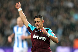 11 September 2017 - Premier League Football - West Ham United v Huddersfield Town - Chicharito of West Ham gives a thumbs up in heavy rain - Photo: Charlotte Wilson