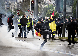 April 27, 2019 - Strasbourg, France - anti-government demonstration called by the ''Yellow Vest'' (gilets jaunes) movement in Strasbourg, eastern France, on April 27, 2019. ''Yellow Vest'' protesters take to the streets for the 24th consecutive Saturday. (Credit Image: © Panoramic via ZUMA Press)