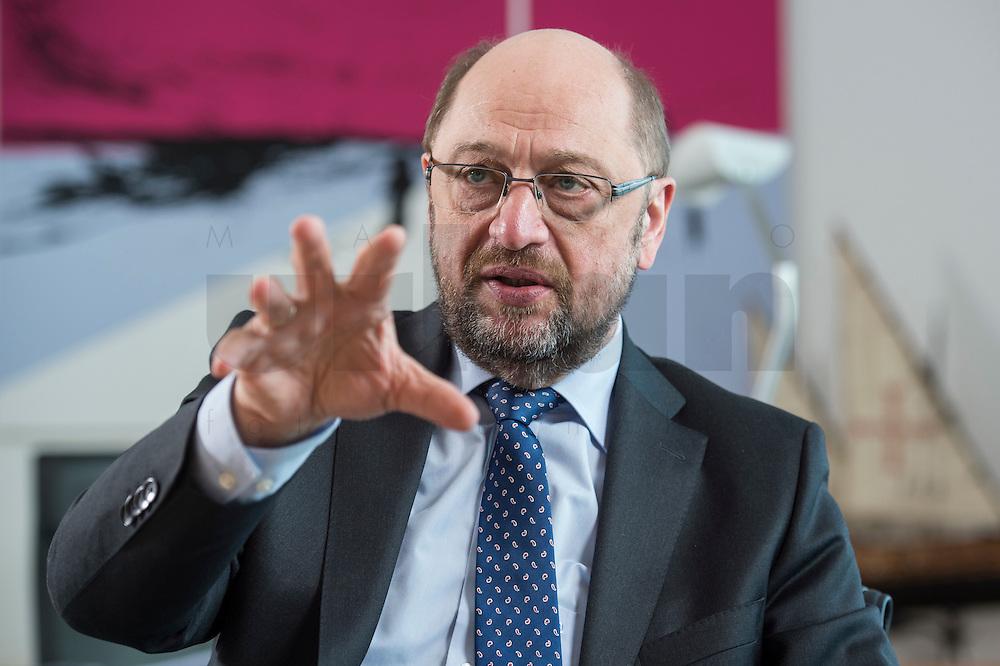 27 FEB 2017, BERLIN/GERMANY:<br /> Martin Schulz, SPD, desig. Parteivorsitzender und Kanzlerkandidat, waehrend einem Interview, in seinem Beuro, Willy-Brandt-Haus<br /> IMAGE: 20170227-01-028