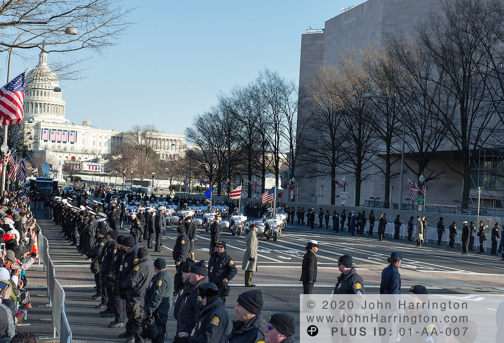 The motor unit of the Washington DC Metropolitian Police Department riding Harley Davidson motorcycles during the parade procession of the 57th Presidential Inauguration of President Barack Obama at the U.S. Capitol Building in Washington, DC January 21, 2013.