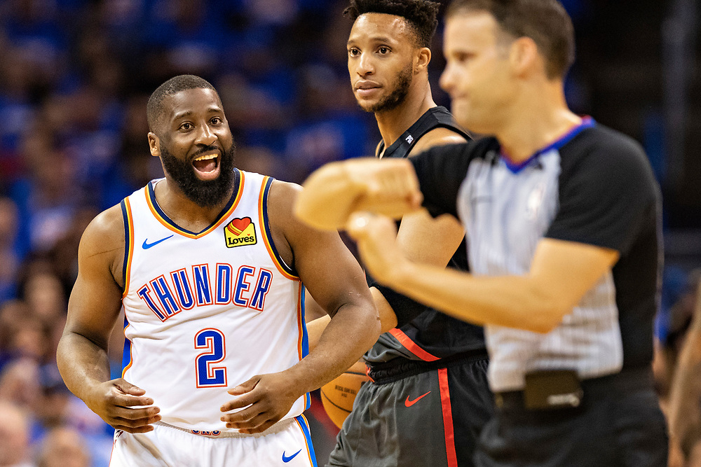 OKLAHOMA CITY, OK - APRIL 21: Raymond Felton #2 of the Oklahoma City Thunder argues a foul call during a game against the Portland Trail Blazers during Round One Game Three of the 2019 NBA Playoffs on April 21, 2019 at Chesapeake Energy Arena in Oklahoma City, Oklahoma  NOTE TO USER: User expressly acknowledges and agrees that, by downloading and or using this photograph, User is consenting to the terms and conditions of the Getty Images License Agreement.  The Trail Blazers defeated the Thunder 111-98.  (Photo by Wesley Hitt/Getty Images) *** Local Caption *** Raymond Felton