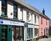 Shops and historic buildings in the town of Holt, north Norfolk, England