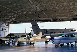 Private Airplanes in Corporate Hanger at William P. Hobby Airport