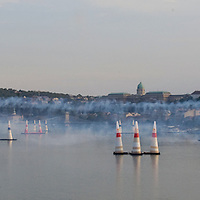 Red Bull Air Race international air show is held over the river Danube.