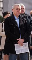 03.04.2016 Bialystok woj podlaskie Akcja czytania Konstytucji zorganizowana przez Podlaski Komitet Obrony Demokracji przed Ratuszem w centrum miasta n/z Robert Tyszkiewicz podlaski posel PO fot Michal Kosc / AGENCJA WSCHOD