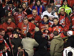 Fans of Acroni Jesenice at ice hockey match Acroni Jesencie vs EC Red Bull Salzburg in EBEL League,  on November 23, 2008 in Arena Podmezaklja, Jesenice, Slovenia. (Photo by Vid Ponikvar / Sportida)