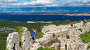 Tourists at St. Michael's Fort (13th Century Venetian ruins) Ugljan Island, Dalmatian Coast, Croatia