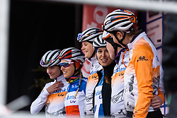 Kasia Niewiadoma and her Rabo Liv teammates at sign in at Dwars door de Westhoek 2016. A 127km road race starting and finishing in Boezinge, Belgium on 24th April 2016.