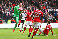 Nottingham Forest's Costel Pantilimon takes a catch during the EFL Sky Bet Championship match between Nottingham Forest and Derby County at the City Ground, Nottingham, England on 11 March 2018. Picture by John Potts.