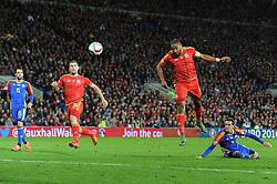Ashley Williams of Wales heads towards goal - Mandatory byline: Dougie Allward/JMP - 07966 386802 - 13/10/2015 - FOOTBALL - Cardiff City Stadium - Cardiff, Wales - Wales v Andorra - European Qualifier 2016 - Group B