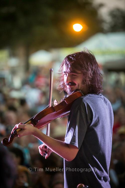 Feufollet band member Chris Stafford performs at Festival Acadiens et Creoles in Lafayette, La.